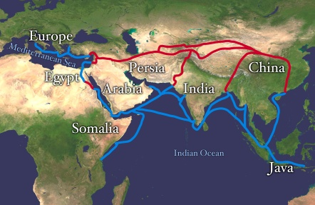 The Silk Road was in fact a mesh of trade routes over land and sea.